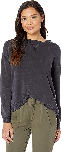 Rayon Spandex Fleece Hooded Sweatshirt with Rib Trim