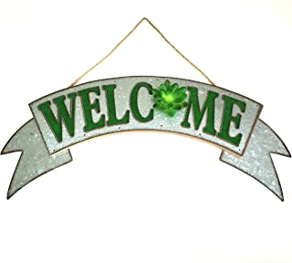 Rustic Farmhouse Welcome Sign Galvanized Metal Sign Green Lettering with 3-D Green Succulent Accent for Entrance, Porch, P...