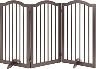 Unipaws Arched Top Tall Pet Gate, Freestanding Stair Gate, Indoor Foldable Dog Gate, Safety Doorway Pet Barrier, Expands u...