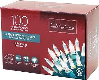 Celebrations Lighting V8224112 Twinkle Lights 100 Clear Bulbs length 20.5'