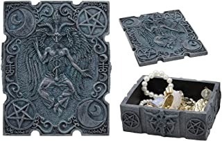 "Ebros 4.5"" Long Satanic Sabbatic Goat Baphomet with Crescent Moons and Pentagram Trinket Decorative Box Church of Satan Sm..."