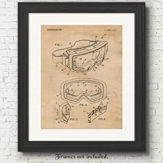 Original Ski Goggles Patent Poster Prints, Set of 1 (11x14) Unframed Photos, Wall Art Decor Gifts Under 15 for Home, Office, Man Cave, College Student, Teacher, Coach, Winter X-Games & Snow Fan