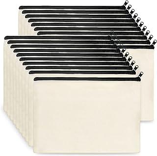Canvas Zipper Pouch Bulk, KOOLMOX 20 Pack 9''x7'' Large Cotton Makeup Bags, Plain for Women Girls to Personalize, Decorat...