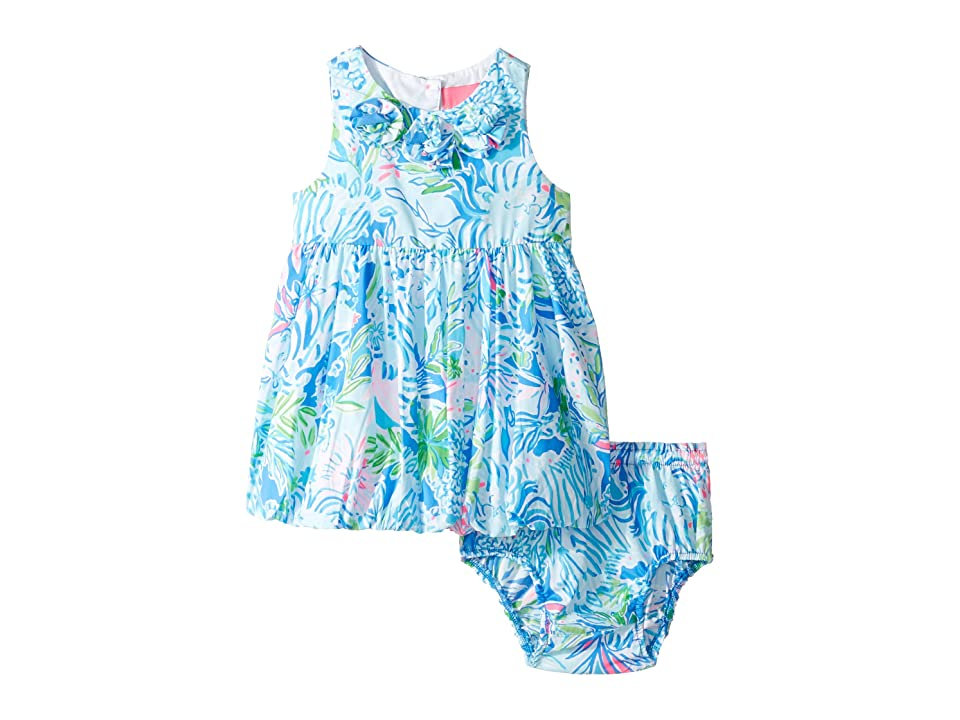 Lilly Pulitzer Kids Baby Britta Bubble Dress (Infant) (Coastal Blue Lion Around) Girl