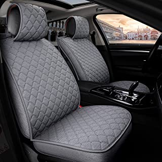 INCH EMPIRE Anti Slip Car Seat Cover Full Set Cloth Universal Fit Front and Back Breathable Dirty Proof Fabric Cushion-Adjustable Bench for 95% Types of 5 Seats Cars(Grey with Stitch Grid)