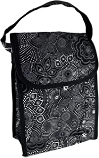 Initials Inc Black Bali Flower Pattern Tall Insulated Water Resistant Lunch Tote Bag
