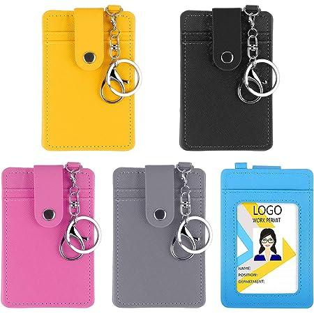 Titulaire de la Carte D'identité, 5 Packs Porte-Cartes de Bus avec 3 Emplacements pour Cartes, Porte-Badge en PU Cuir Adapté pour Carte de Bus Clé Carte d'Identité Carte Bancaire(5 Couleur)