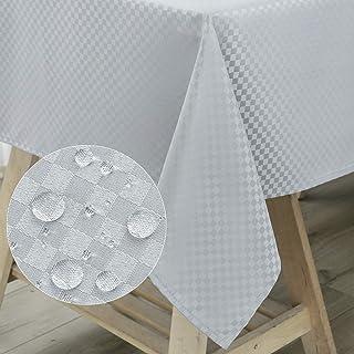 WELTRXE Nappe de Table Rectangulaire en Tissu Polyester, Nappe à Carreaux Etanche pour Salle à Manger, Pique-Nique, Restau...