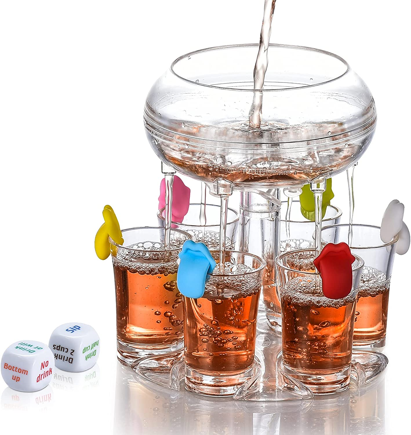 6 Shot Acrylic Dispenser and Holder,with Cup Markers and Game Dice,Shots Dispenser For Filling Liquids,Alcohol Liquor Beverage Dispenser,Party Bar,Cocktail Dispenser, Drinking Tools