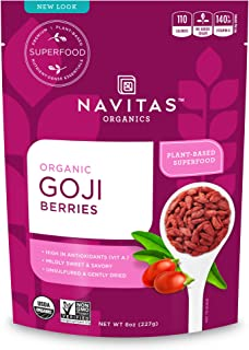 Navitas Organics Goji Berries, 8 oz. Bag, 8 Servings — Organic, Non-GMO, Sun-Dried, Sulfite-Free