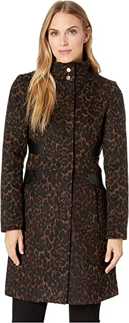 Leopard Stand Collar Wool Coat with Faux Leather Detail