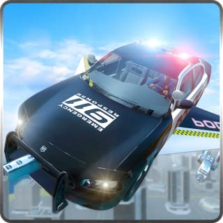 Flying Police Car Chase Simulator 3D: Crime City Vegas Gangster Criminal Escape Rush Adventure Mission Games 2018