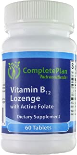 Sublingual Methylcobalamin Vitamin B12 and Active Methyl Folate - Most Bioavailable B12 in Natural Cherry - Chewable Lozen...