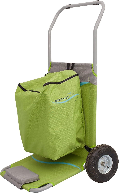 Meerweh Faltbarer Tasche Transportwagen Strandliege Strandwagen, grün grau, 118 x 63 x 75 cm