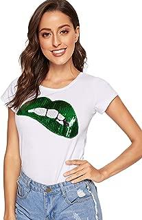 Women's Summer Sequin Letter Print Embellished Short Sleeve T-Shirt Top