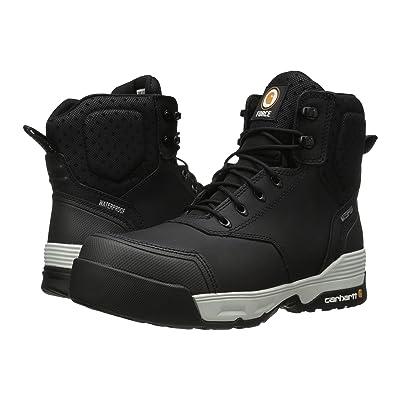 Carhartt 6 Inch Force Black Waterproof Work Boot (Black Coated Leather) Men