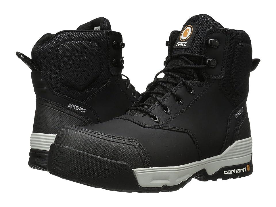 Carhartt 6 Inch Force Black Waterproof Work Boot (Black Coated Leather) Men's Waterproof Boots