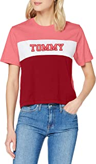 Tommy Jeans Tjw Colorblock Stripe tee Camisa, Glamour Pink/Multi, XL para Mujer