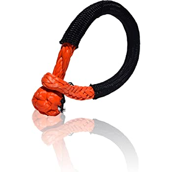 QIQU Synthetic Soft Shackle for Boating ATV UTV SUV 4X4 Truck Recovery Together with Recovery Rope 1 Pack (5/16'', Orange)