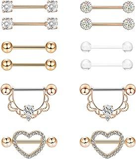 6 Pairs 14G 316L Stainless Steel Nipplerings Nipple Tongue Rings Women Girls CZ Barbell Body Piercing Jewelry
