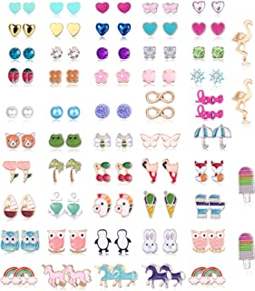 CASSIECA 52 Pairs Hypoallergenic Stud Earrings for Girls Kids Women Cute Animal Assorted Post Earring Set