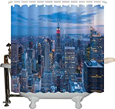 JXHLMS New York Shower Curtain, Aerial Night View of NYC with Dusk Sky Cloudy Sunset in City Fashion Capital Art Photo, Fabric Bathroom Decor Set with Hooks, 766 INCHES Wide x 72 INCHES Long