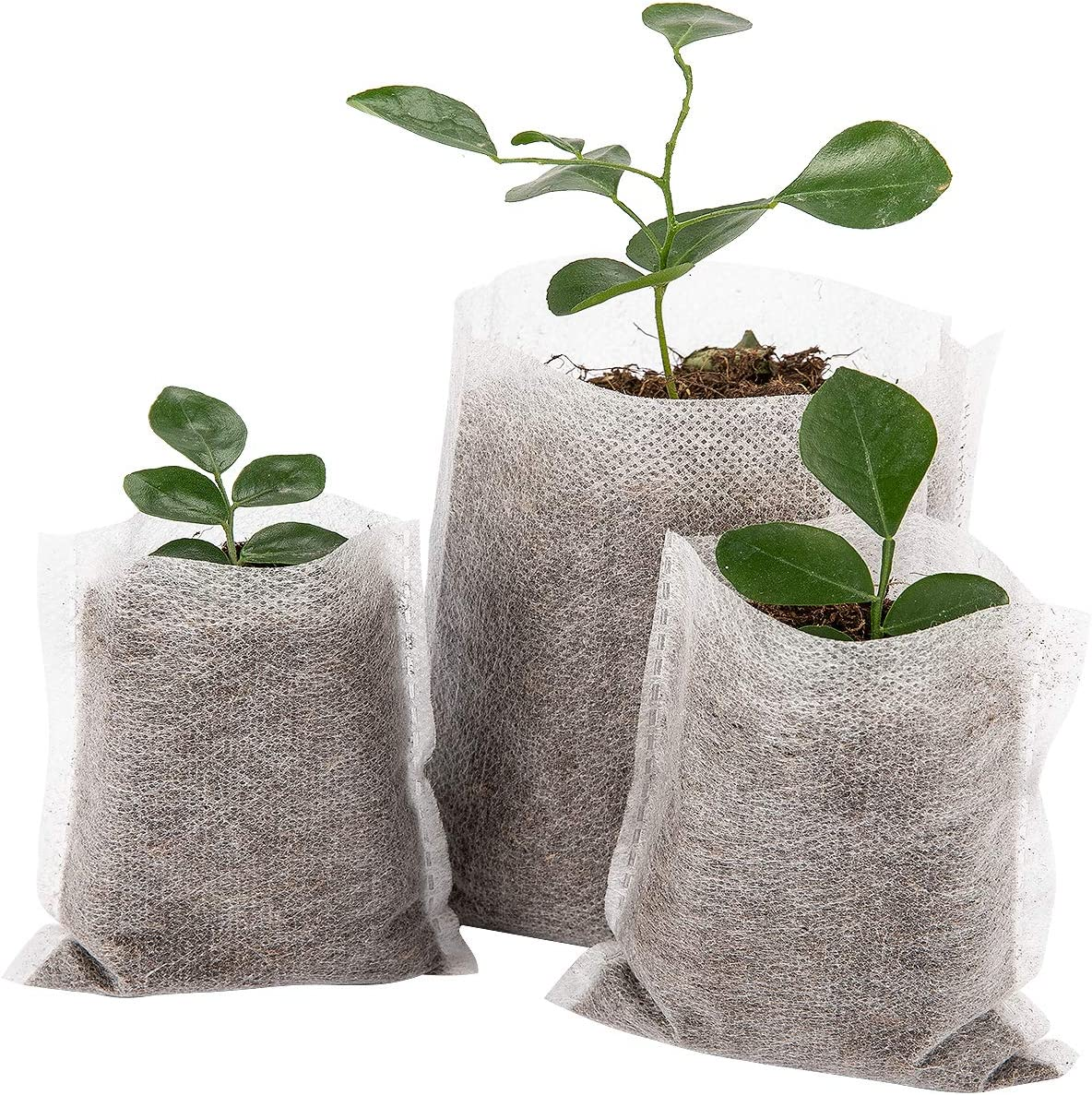 Cosweet 500 pcs Assorted Sizes Seedling Plant Grow Bags, Biodegradable Non-Woven Nursery Fabric Seeding Starting Fiber Soil Transplant Pouches, Home Garden Supply