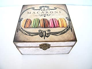Caja para bolsitas de tè, almacenaje infusiones, cajita madera 4 compartimentos, joyero 16x16x7,5 cm