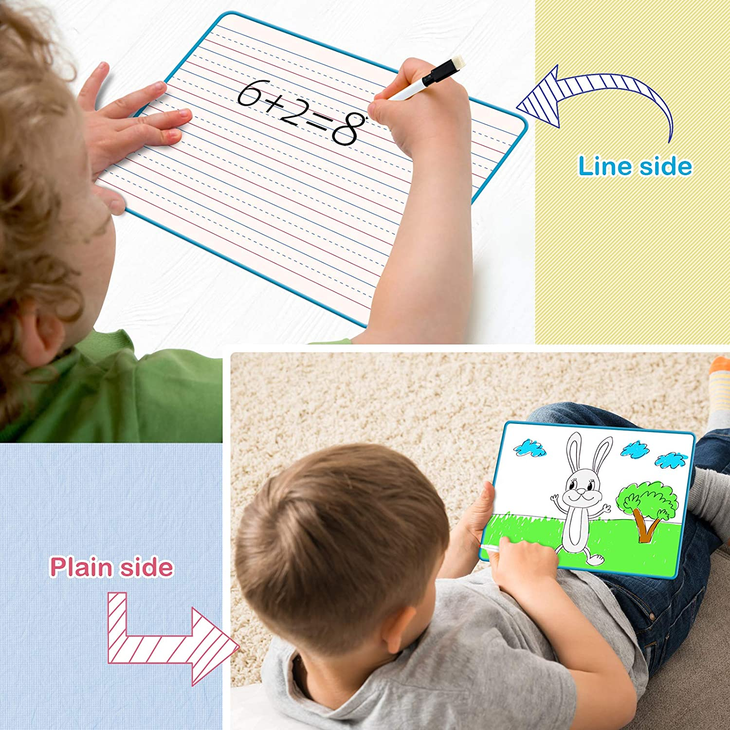 Dry Easy Board for Kids Small White Board with Lines Blue