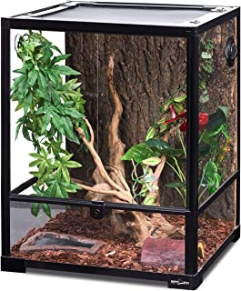 REPTI ZOO Reptile Glass Terrarium Front Opening Terrarium with Double Hinge Door & Top Screen Ventilation, 30 Gallon Tank ...
