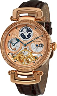 Stuhrling Original Magistrate Men's Automatic Watch with Rose Gold Dial Analogue Display and Black Leather Strap 353A.334K14
