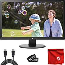 """HP 24"""" TN LCD LED Backlit 1080p FHD Monitor (24UH) Antiglare 5ms 60Hz 1920x1080 Bundle with 6-Foot HDMI Cable, Cable Ties ..."""