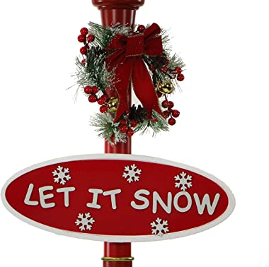 Fraser Hill Farm Red Let Series 69 Globe Lamp Post Santa Scene, 2 Signs, Cascading Snow, and Christmas Carols, 69 Inch