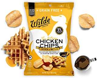 Chicken & Waffles Chicken Chips by Wilde Brands   Protein Snack   Made with Real Chicken   Keto Friendly, Paleo Certified   Antibiotic and Gluten Free   2.25oz Bag (4 count)