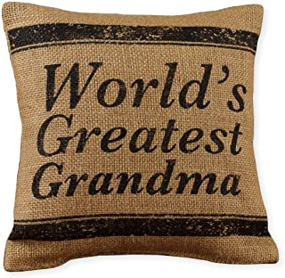 Small World's Greatest Grandma Ticking Stripe 8 x 8 Burlap Decorative Throw Pillow