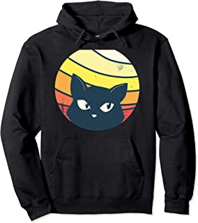 Cat Peeking - Funny Sunrise Retro Vintage Graphic Pullover Hoodie