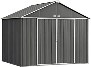 Arrow 10' x 8' EZEE Shed Charcoal with Cream Trim Extra High Gable Steel Storage Shed
