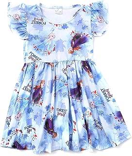 ELSANI Girls Princess Fancy Frozen Dress Blue Flutter Sleeve Children Girls Clothes Twirl Dress