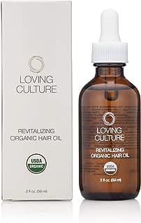 Loving Culture Revitalizing USDA Organic & Vegan Hair Growth Oil| Repair Oil | Fair Trade Argan Oil Moisturizes Hair| Beard Oil| Fragrance-Free | Organic Hair Oil for Men & Women | Made in U.S.A| 2 oz