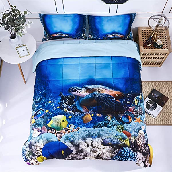 HIG 3D Bedding Set 3 Piece Queen Size Turtle In Sea Print Comforter Set With Two Matching Pillow Covers Box Stitched Quilted Duvet General For Men And Women Especially For Children P30 Queen