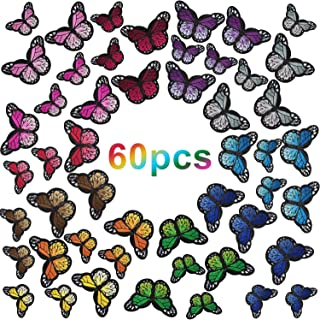 Butterfly Iron on Patches Butterfly Embroidery Applique Patches for Arts Crafts or DIY Decoration T-Shirt Jacket Shoes Bags Repair Patch (Large+Small, 60)