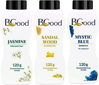 BGOOD Talcum Powders Combo Pack of 3 (Mystic Blue, Jasmine, Sandal Wood)-120g Each