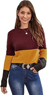 SweatyRocks Women's Long Sleeve Round Neck Colorblock Pullover Sweater Top