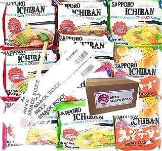 Sapporo Ichiban Variety 10 pack Original,Shrimp,Beef,Chicken,Miso Noodle Instant Ramen + (4) Mixx Snack Boxx Chopstick