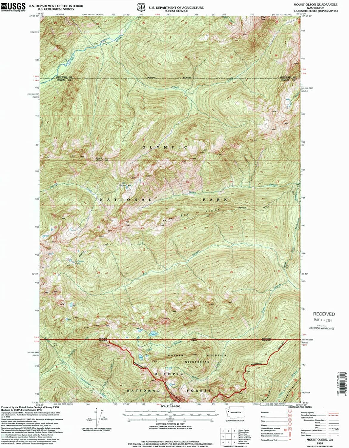 Mount Olson WA topo map, 1 24000 Scale, 7.5 X 7.5 Minute, Historical, 1999, Updated 2001, 27 x 22.2 in