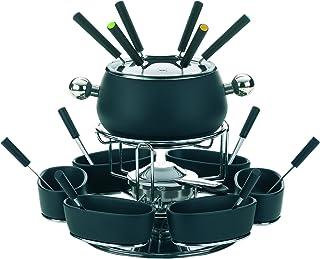 Kela 61203 service à fondue à viande, 6 personnes, 22 pièces, acier émaillé, coloris noir, 'Lugano'