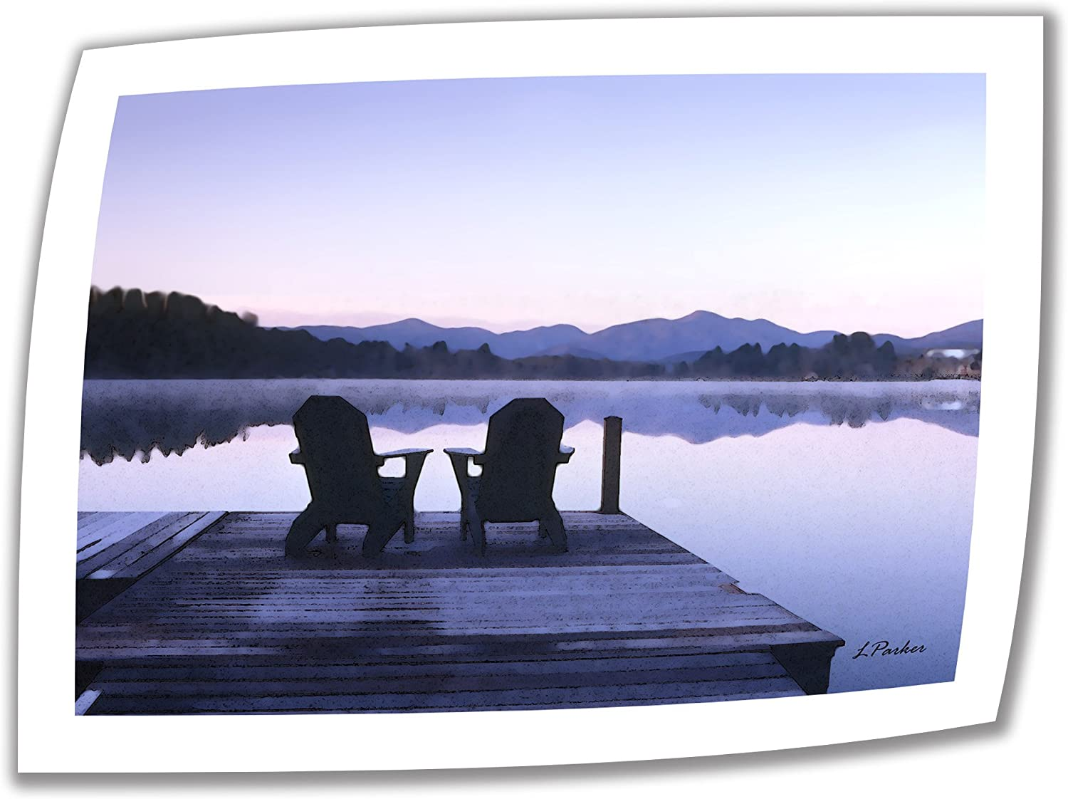 Art Wall Mirror Lake, Lake Placid 14 by 18-Inch Unwrapped Canvas Art by Linda Parker with 2-Inch Accent Border