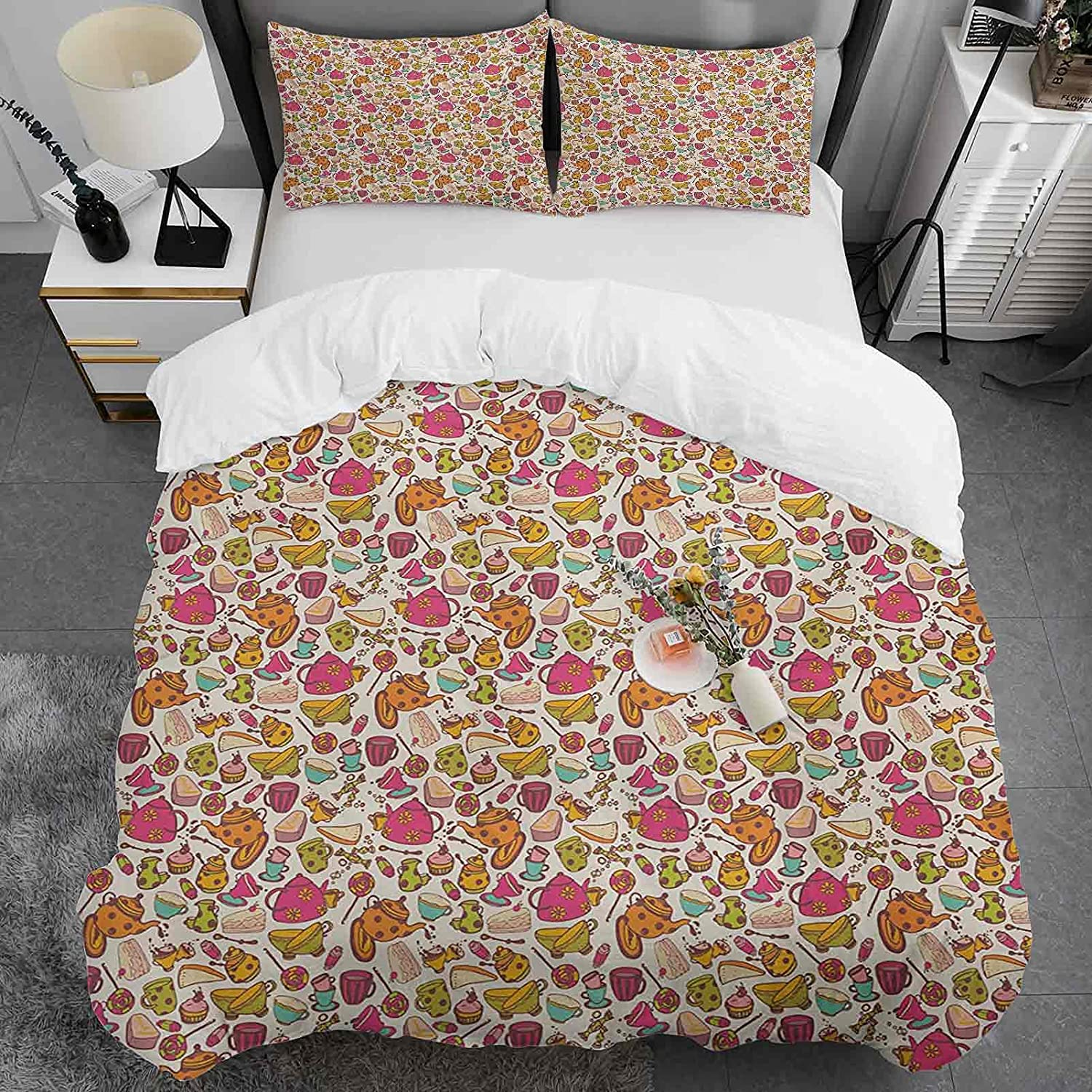 Kids Duvet In stock Cover Twin Size Tea Albuquerque Mall Party Double Pattern Soft Ultra