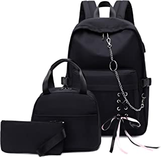 Joymoze Girl Laptop Backpack Set with Lunch Bag and Pencil Purse Black Chain