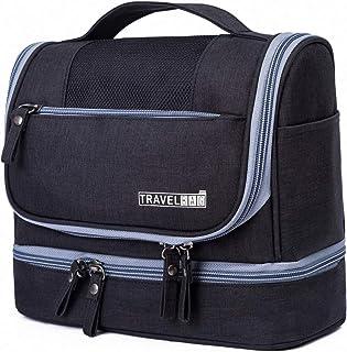 LHNTトイレタリーバッグ トラベルポーチ 化粧ポーチ 化粧バッグ 洗面用具入れ 大容量 フック付き 小物整理 収納 旅行用 出張用 防水機能アップ 乾湿分離